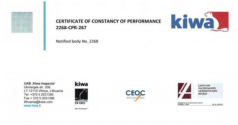 Certificate kiwa